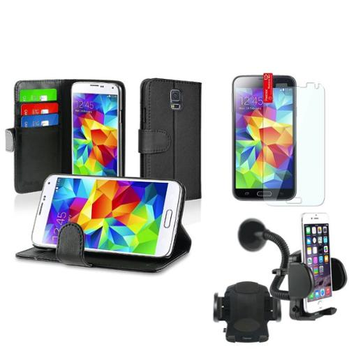 Insten Black Wallet Leather Stand Case+Windshield Holder+Protector For Samsung Galaxy S5 S V