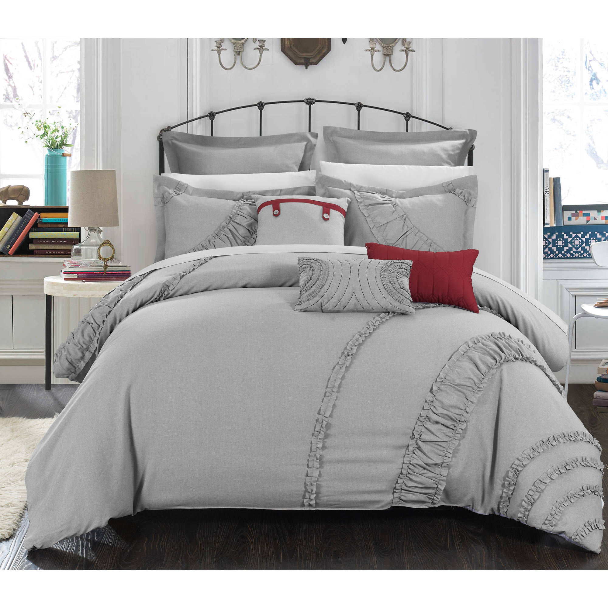 Chic Home Dearly 8-Piece Faux Linen Oversized and Overfilled Comforter Set