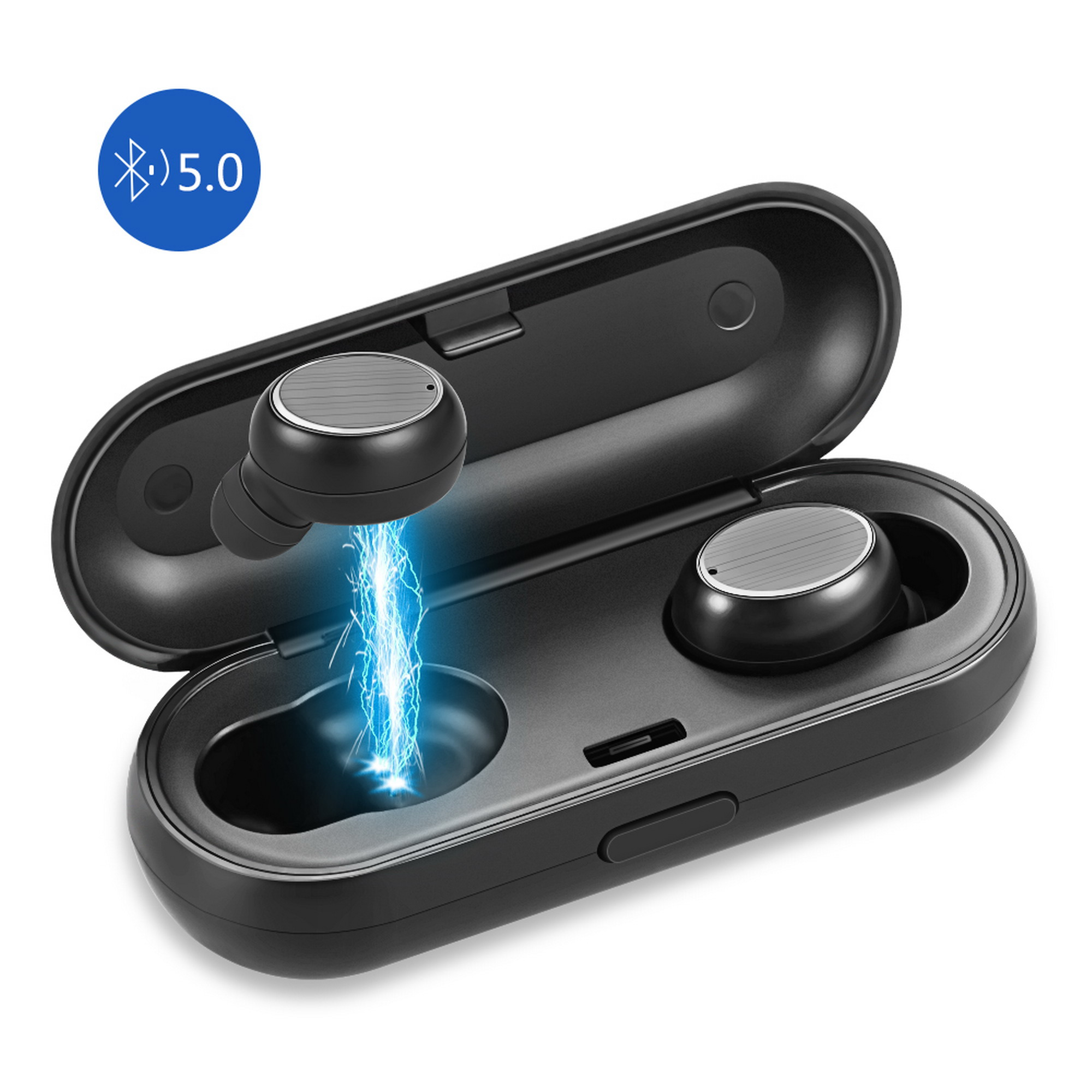LUXMO Wireless Earbuds, LUXMO Wireless Headphones with Bluetooth 5.0 Earphones True Wireless Stereo TWS with Charging Case for Sports Drive or Work [Black]