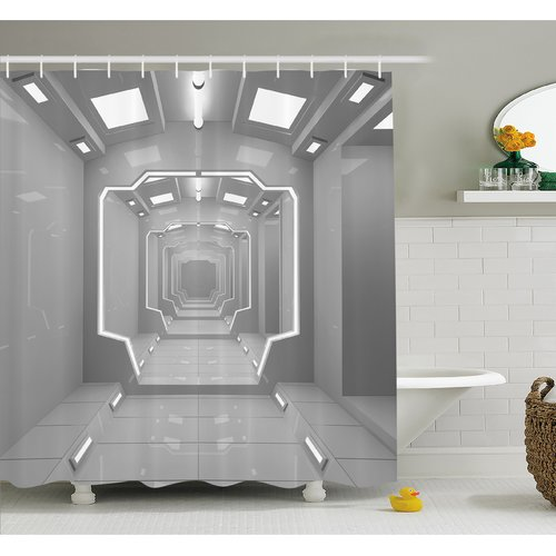 Ambesonne Outer Space Supernatural Science Based Light Travel to Planet Solar System Explore Image Shower Curtain Set