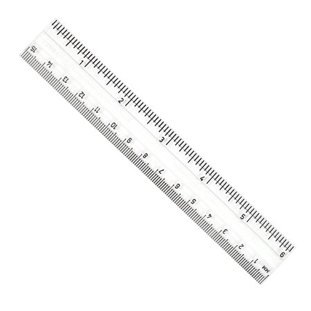 CLEAR PLASTIC 6IN RULER INCHES / METRIC