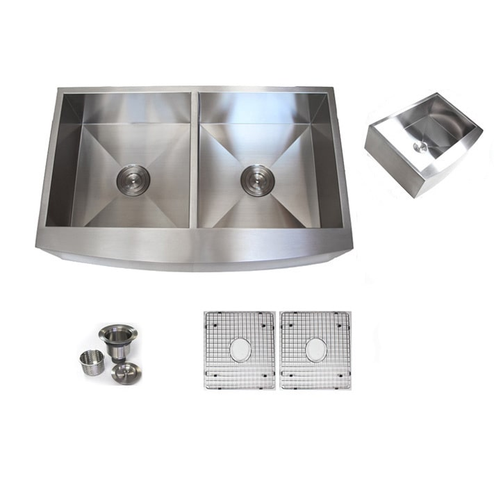 Contempo Living Inc 36-inch Stainless Steel Farmhouse Double-bowl Curve Apron Kitchen Sink