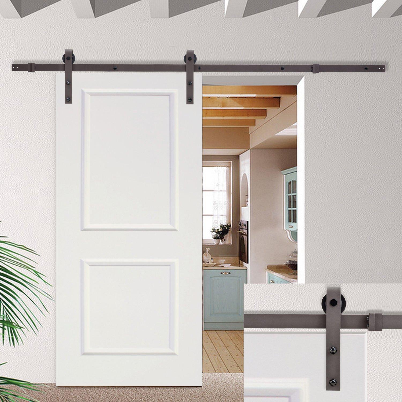 Tms 6 6ft Dark Coffee Sliding Barn Door Hardware Set W 30 Wide White