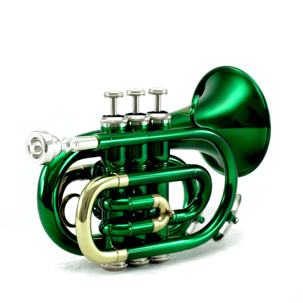 Sky Green Bb Pocket Trumpet with Case, Cloth, Gloves and Valve Oil by Sky