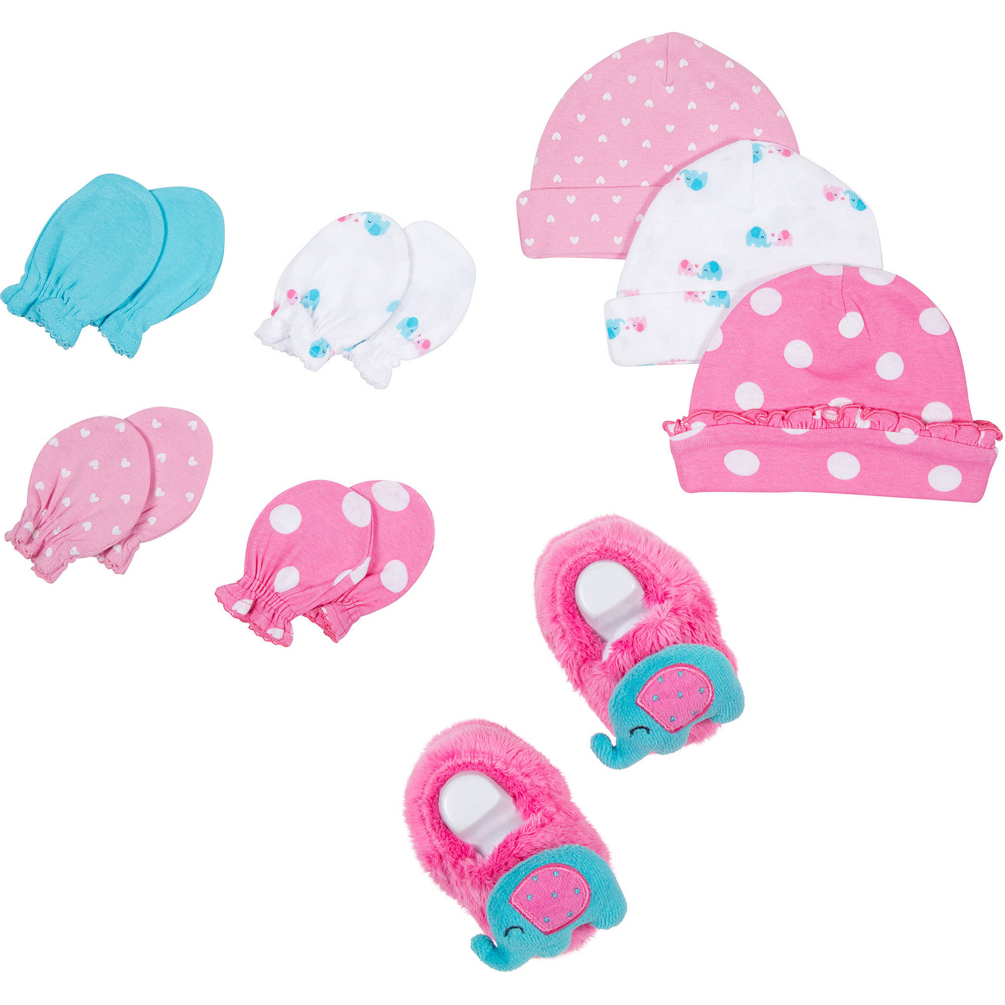 Newborn Baby Girl Cap, Mitten and Booties Accessory Set, 8-Piece