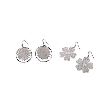Floral Set Earrings (Hypoallergenic Surgical Steel Rhodium Plated Swirl Flower and Delicate Floral set of 2 Earrings)