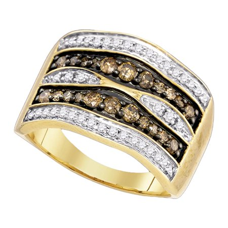 Diamond Gold Cocktail Ring - 10kt Yellow Gold Womens Round Brown Diamond Cocktail Ring 3/4 Cttw
