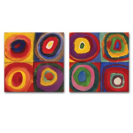 wall26 2 Panel Square Canvas Wall Art - Abstract Circles by Kandinsky - Giclee Print Gallery Wrap Modern Home Decor Ready to Hang - 16