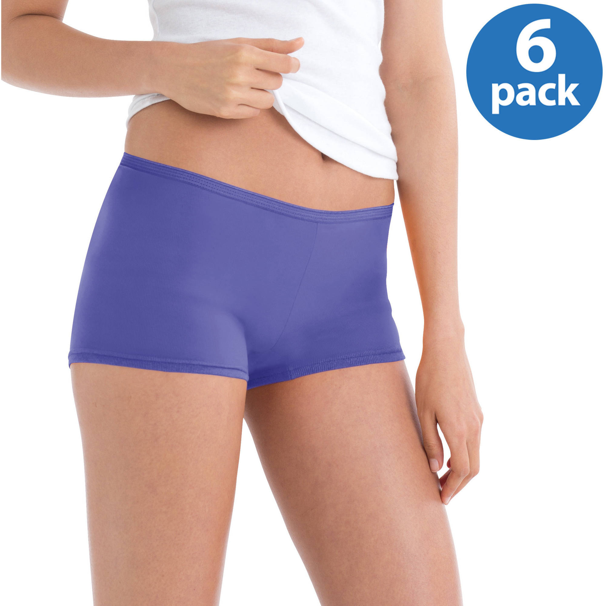 Hanes Women's Cotton Boybrief Panties 6-Pack, Colors May Vary