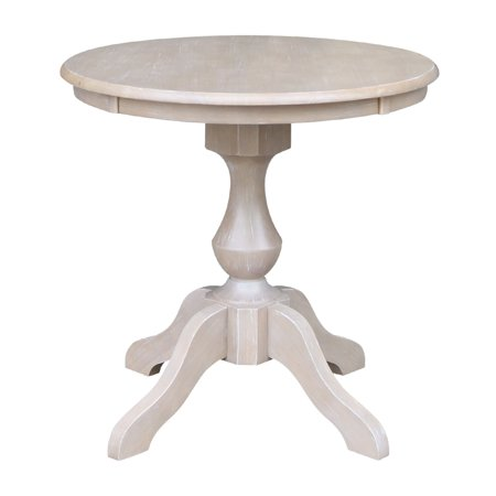 "Solid Wood 30"" x 30"" Round Pedestal Dining Table in Washed Gray Taupe"