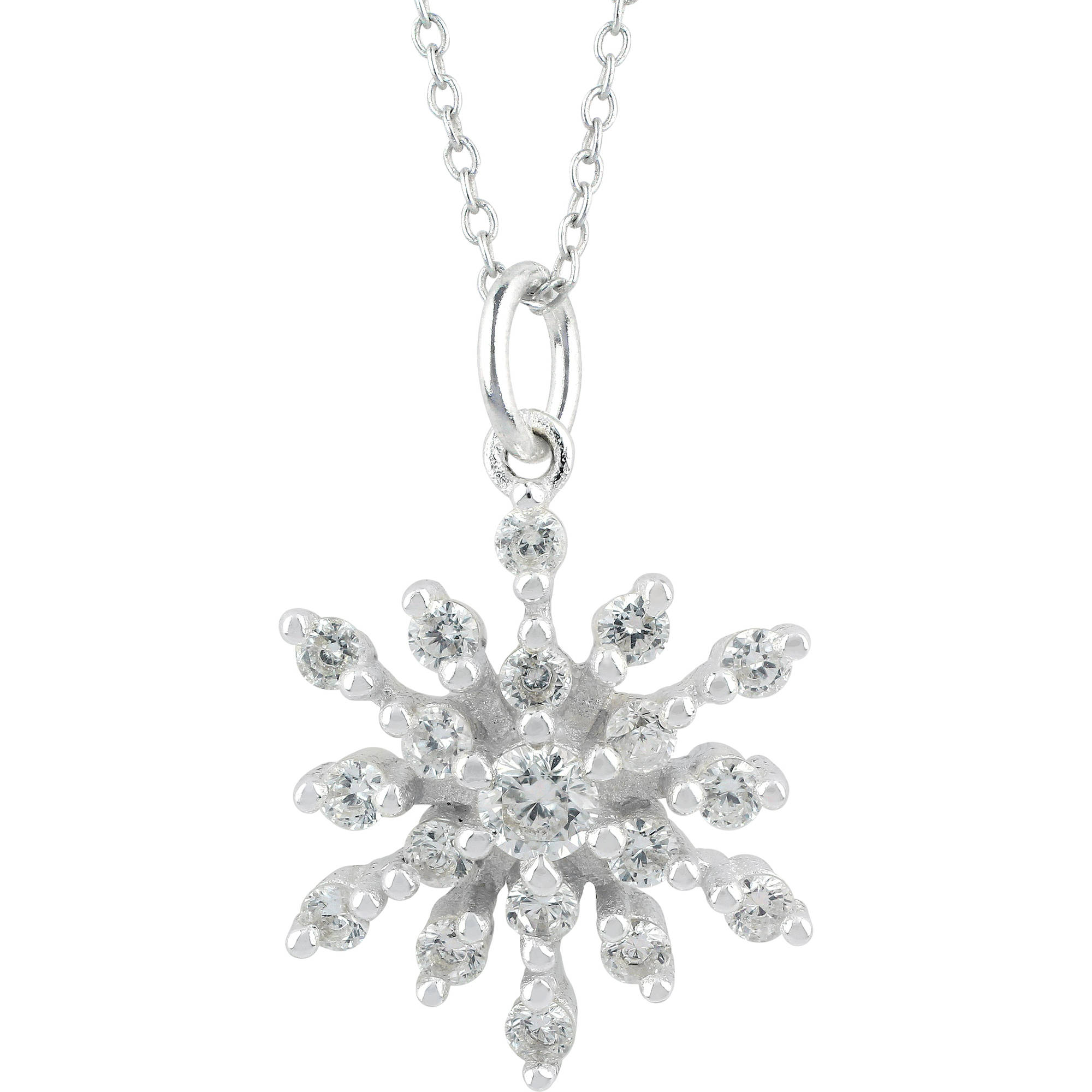 snowflake com gift truly pendant with sterling cz necklace ip box walmart radiant silver