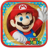 "9"" Super Mario Party Paper Square Plate, 8ct"