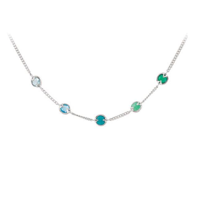 Fine Jewelry Vault UBNKS69697AGMC Multi Gemstone Station Necklace in 925 Sterling Silver 16 in. with 2 in. Extensions by Fine Jewelry Vault