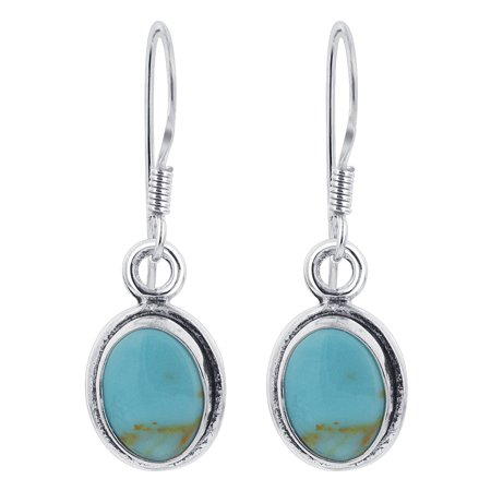 Gem Avenue 925 Sterling Silver Oval Simulated Turquoise Drop (Turquoise Stone Drop)