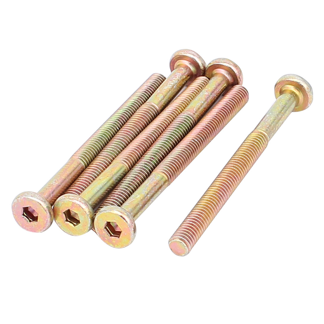 Uxcell M6 x 70mm Male Thread 1mm Pitch Hex Socket Head Cap Screw Bolt Bronze Tone (6-pack)