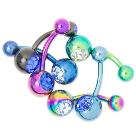 6-Pack Belly Button Rings - 14ga-5/16