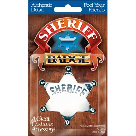 Star Power Cowboy Sheriff Engravable Costume Badge, Silver, One Size