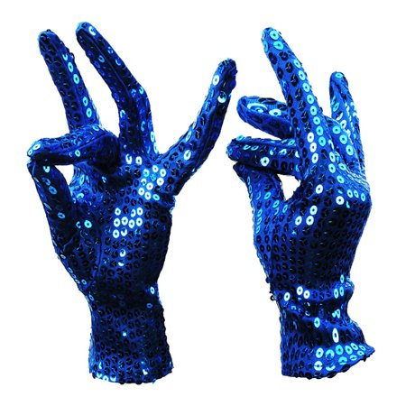 Shimmer Sequin Costume Gloves Halloween Masquerade Party Gloves Supplies Decor Accessory 1 Pair  sapphire Adult (Halloween Party Decor Adults)