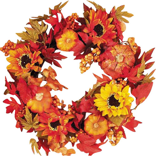 Worth Imports Gourd Berry 18'' Floral Wreath