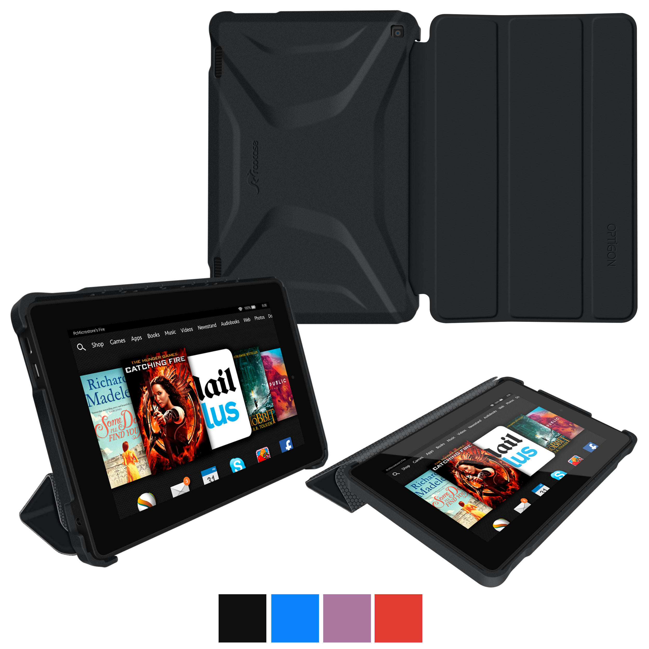 Fire HD 7 2014 Case, roocase Optigon Kindle Fire HD 7 2014 3D Slim Shell Case with Stand for Amazon Kindle Fire HD 7 2014 (4th Generation) [Supports Sleep/Wake Function]