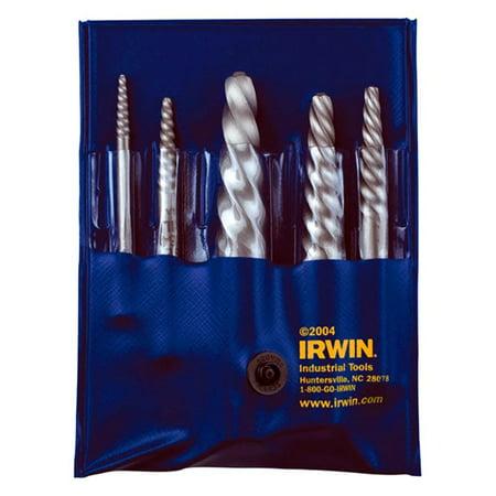 Irwin 53535 - Hanson 534/524 Series #1-#5 5-Piece Spiral Flute Screw Extractor Set