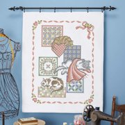 Herrschners Cat Nap Lap Quilt Top Stamped Cross-Stitch