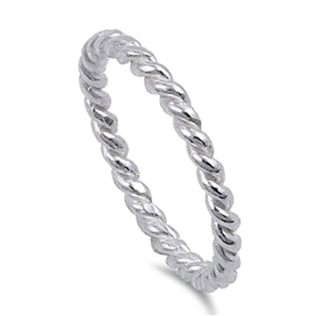 Sterling Silver Women's Rope Chain Design Eternity Ring (Sizes 4-10) (Ring Size 5)