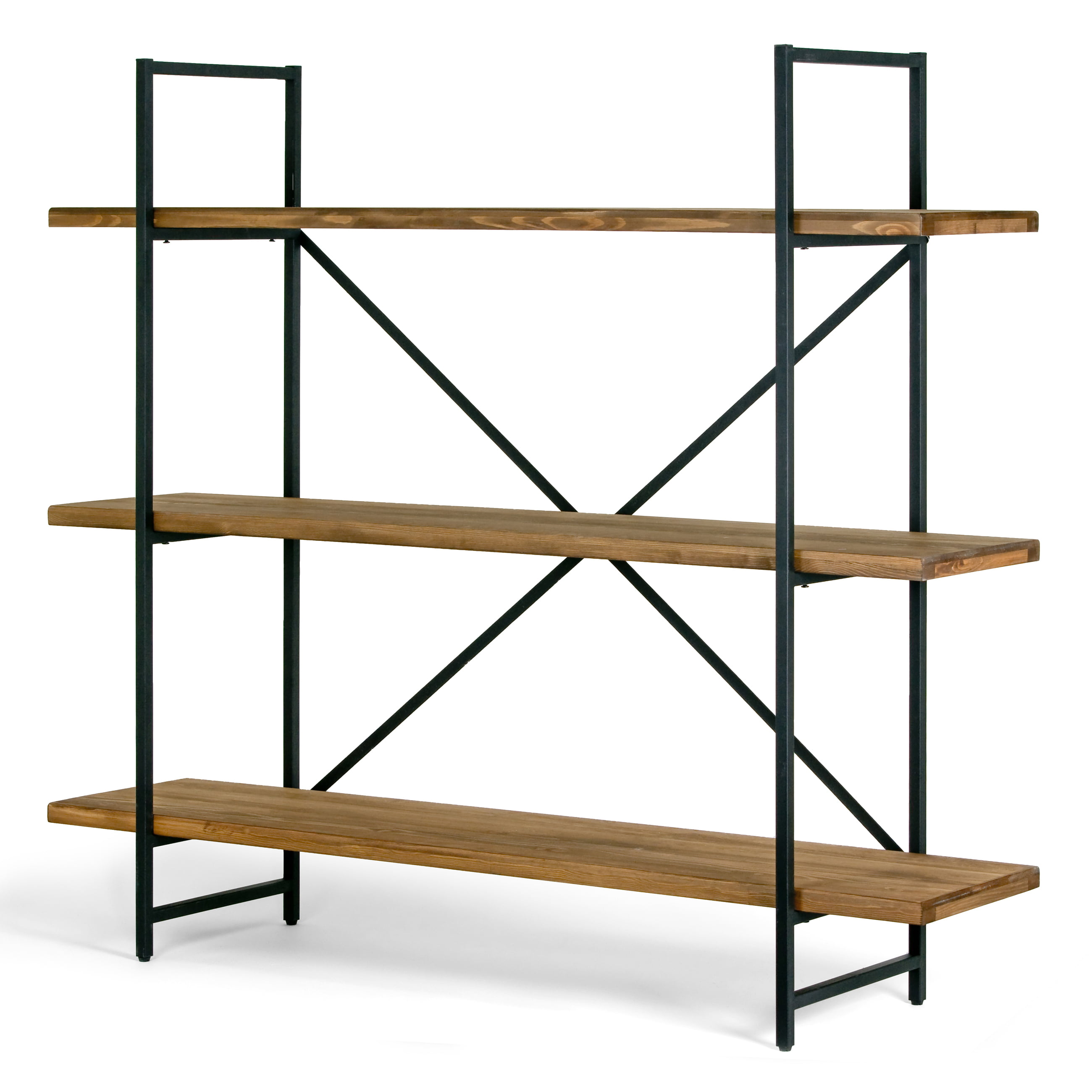 "Ailis 56"" Brown Pine Wood Metal Frame Etagere Three Wide Shelf Bookcase Media Center by Glamour Home"