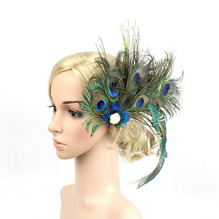 1920s Headpiece Peacock Feather Pearl Hair Clip Bridal Wedding Party Headband (1920s Headbands)