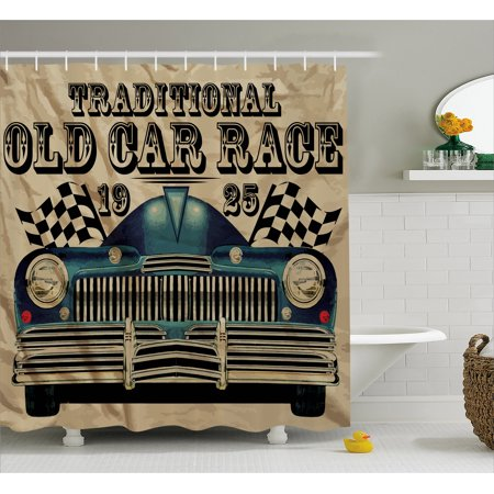 Cars Shower Curtain Traditional Old Car Race Theme Nostalgic American With Flags Rusty Look