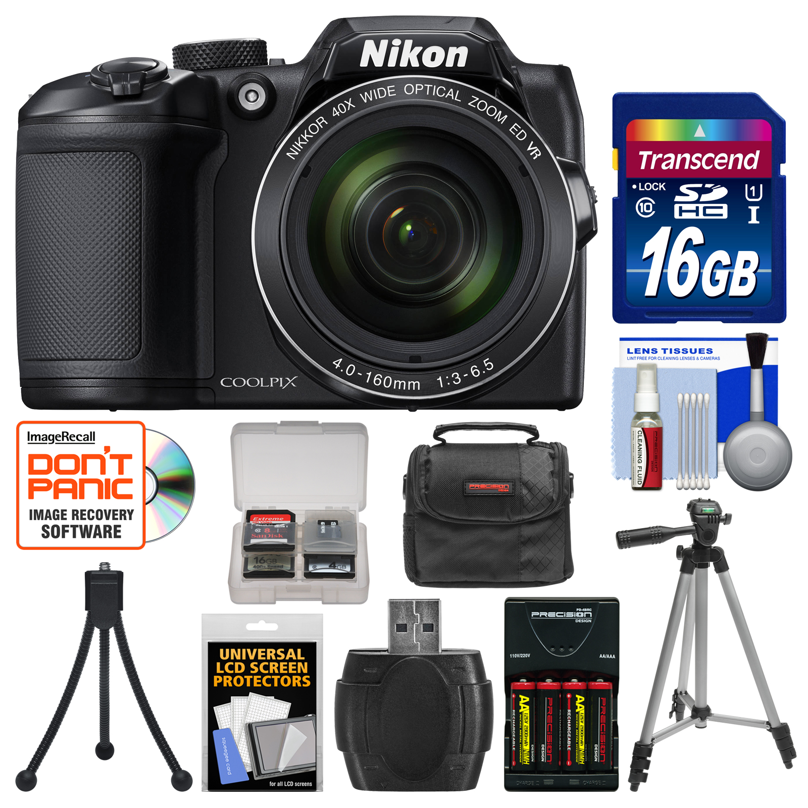 Nikon Coolpix B500 Wi-Fi Digital Camera (Black) with 16GB Card + Case + Batteries & Charger + Tripod + Kit