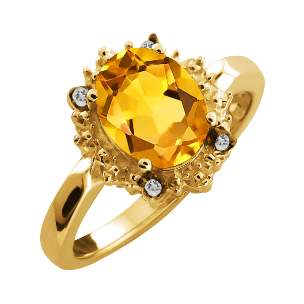1.17 Ct Oval Yellow Citrine and Topaz Yellow Gold Plated Sterling Silver Ring