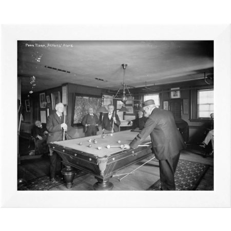 Group of Gentlemen Playing Pool at Billiards Hall Photograph Framed ...