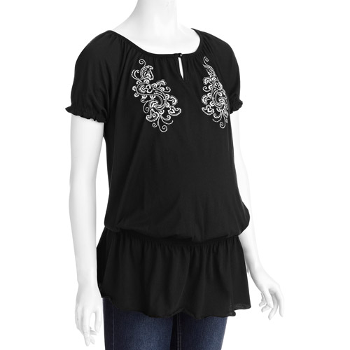 Faded Glory Maternity Peasant Top with Embroidery
