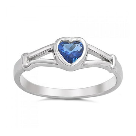 925 Sterling Silver Heart Shaped Baby Ring With Cubic Zirconia