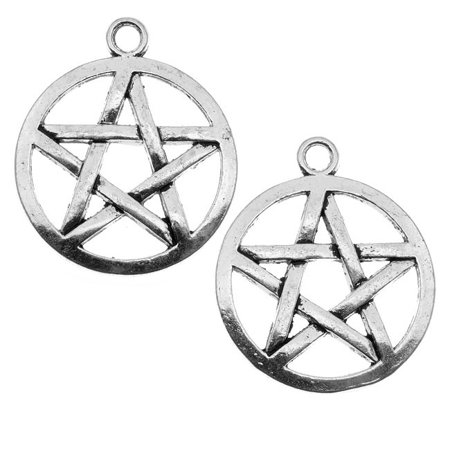 Lead-Free Pewter Pendant, Pentagram Star 29mm, 2 Pieces, Antiqued Silver Pentagram Silver Pewter Pendant