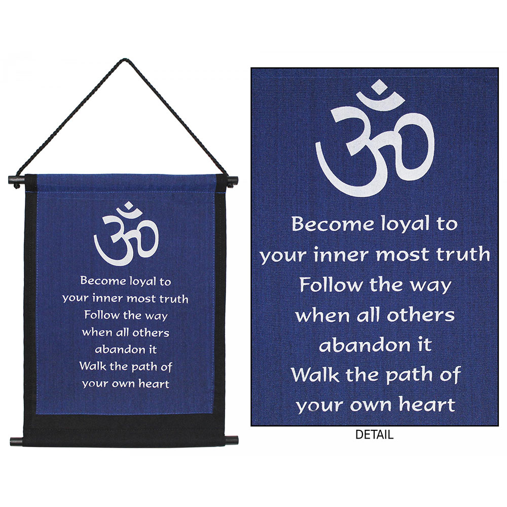 Follow Your Heart With Om Symbols Inspirational Banner