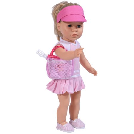 2faec47293ec7 Tennis Set for 18 inch Dolls - includes Rackets, Dress, and Doll Cap - Pink