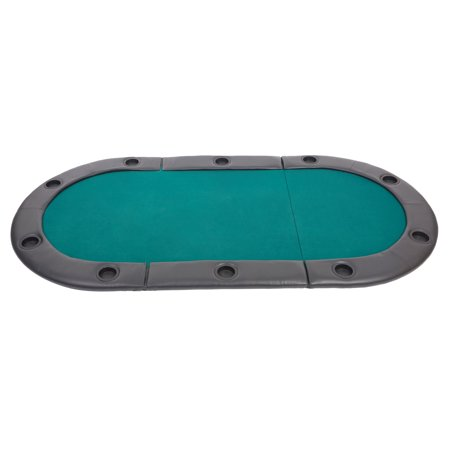 KARMAS PRODUCT 82 inch 3 Folding Poker Table Top 10 Players Casino Blackjack Game Oval Padded Poker Table Layout with Cup Holders,