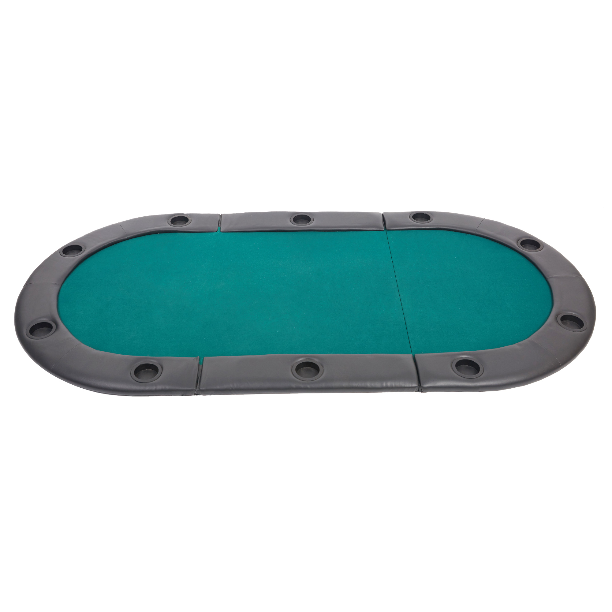 KARMAS PRODUCT 82 Inch 3 Folding Poker Table Top 10 Players Casino  Blackjack Game Oval Padded Poker Table Layout With Cup Holders, Green    Walmart.com