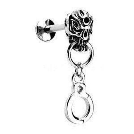 Skull Handcuffs dangle Labret Monroe body jewelry piercing lip chin tragus targus Ring