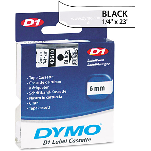 DYMO D1 Standard Tape Cartridge for Dymo Label Makers, Black on Clear