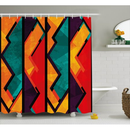 Modern Shower Curtain, Geometric Modern Art Ethnic Design with Black Bold Zig Zag Borders Pattern, Fabric Bathroom Set with Hooks, Teal Orange Marigold, by Ambesonne ()