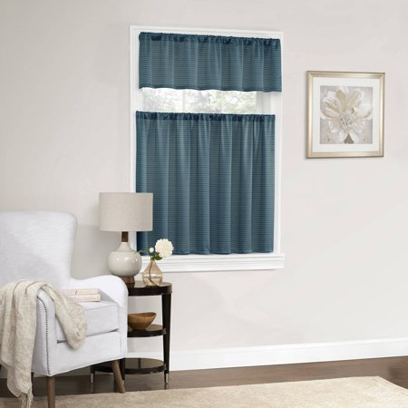 Mainstays Dotted Room Darkening Small Window Kitchen Curtain Set