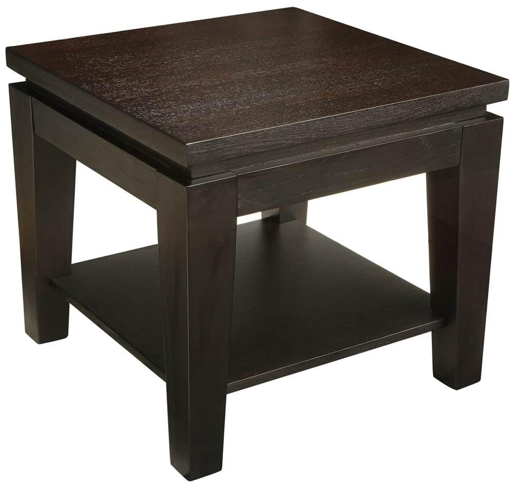 Asia Square End Table with Shelf in Espresso Finish