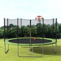 Merax 14' Trampoline with Basketball Hoop and Enclosure, Green