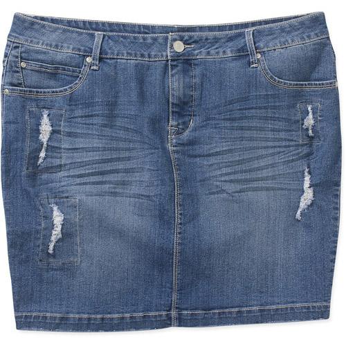 faded s plus size distressed denim skirt