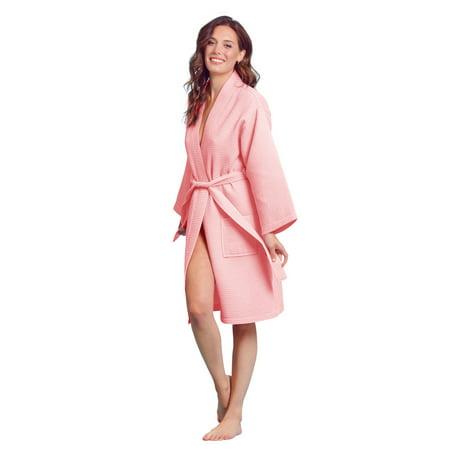 Kimono Waffle Robe – Women's Bath SPA Robe – Lightweight Cotton &Polyester Blend Cotton Spa Robe