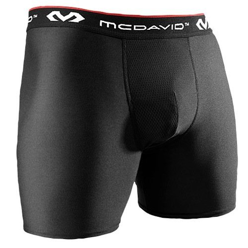 McDavid Performance Athletic Support Boxer Shorts With Cup Pocket, Black, Large
