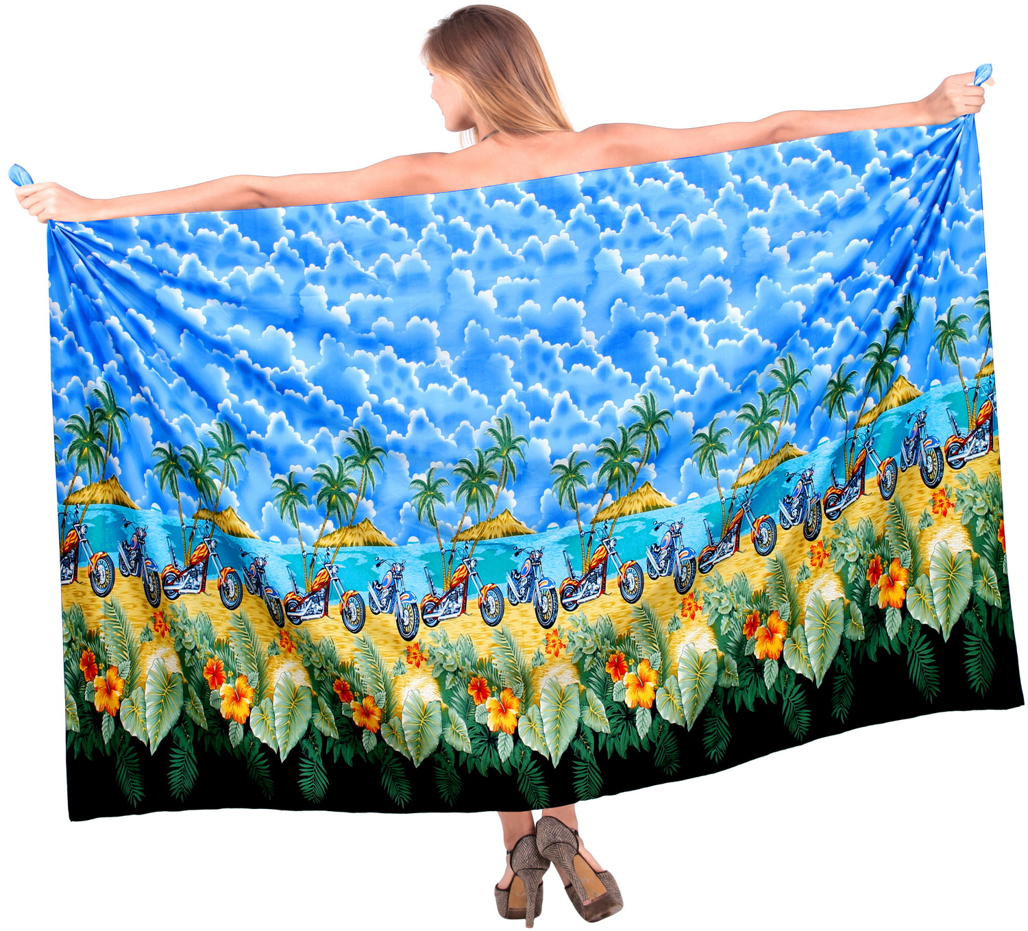 LA LEELA Beach Wrap Sarong Bathing Swimsuit cover up Dress Women Pareo Printed